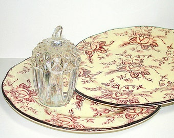 Vintage Wood & Sons Enoch Small Plates.  Salad or Dessert Plate. Colonial Rose Pattern.  Pink Floral