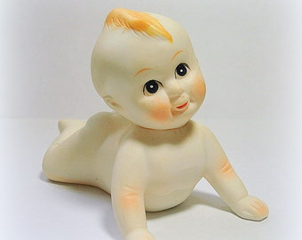 Kewpie Cupie Doll Figurine in Crawling or Push Up Position Small Size Bisque Porcelain Mid-Century Excellent Condition