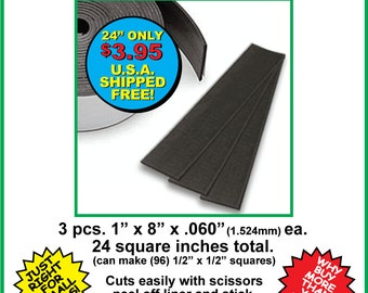 3pcs - 1in. x 8in. Magnet Tape Adhesive Magnetic Strips Craft Flat Magnets (24sq. inches total)