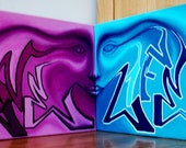"2 Canvas Set of Abstract ""Love Life"" Graffiti Painting With Face - Will Do Custom Orders"