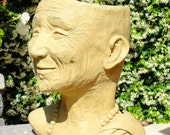 Stone MONK HEAD PLANTER - Original Copyrighted Artwork. Outdoor Safe. Made in California (o)