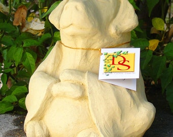 Stone MEDIUM MEDITATING DOG - Original Copyrighted Garden Sculpture (o)