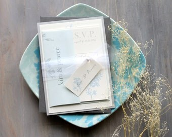 "Pale Blue, Silver, Gray and Ivory Elegant Floral Wedding Invitations with Tulle, Modern Traditional Wedding  - "" Elegant Blue"" Sample"