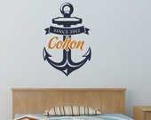 Anchor Wall Decal with Custom Name Birth Year Nautical Vinyl Wall Art Decal Sticker WD0012