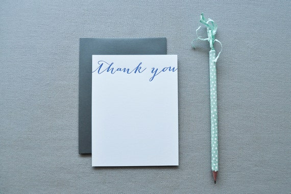 calligraphy letterpress thank you cards