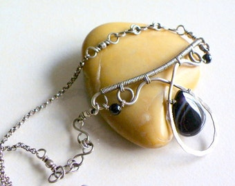 Wire wrapped handmade necklace sterling silver Black Onyx women jewelry