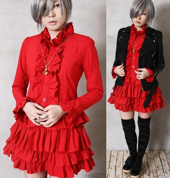 Tux Ruffle Shirt Dress Red