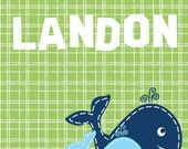 Custom Name Art for Kids // Whale Nursery Decor // Whale Wall Art Print // Customized Nursery Art // Cute Whale Art // One 8x10 Print Only