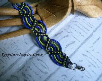 Micro macrame bracelet in blue and lime green. Macrame jewelry.