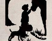 Custom Clip Art Design Transfer Digital File Vintage Download DIY Scrapbook Shabby Chic Pillow Silhouette Boy Horse Dog No. 0559