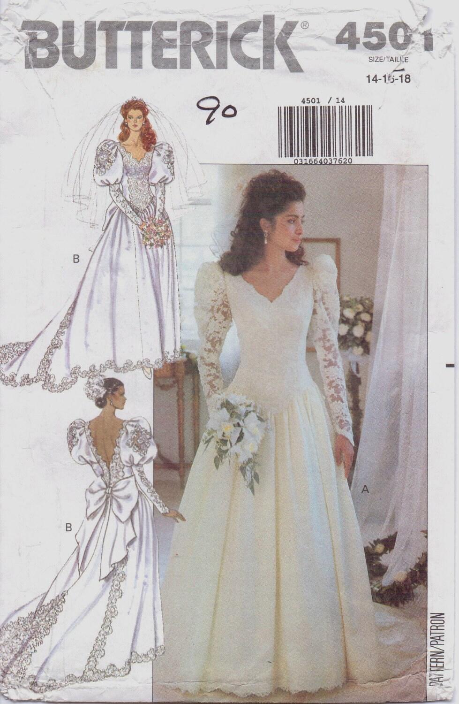 80s butterick pattern 4501 womens wedding dress pattern size for Butterick wedding dress patterns