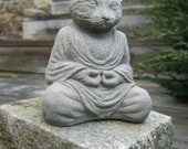 Buddha Cat, Meditating Kitty Statue, Concrete Small 4 Inch Tall Pet Statues, Cement Animal Figures