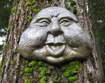 Rock Face Garden Decor, Garden Art, Friendly Face, Concrete Garden Face, Concrete Statue, Cement Rock Face, Hanging Face, Garden Faces.