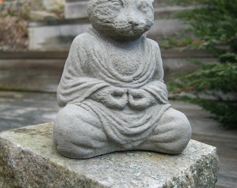 Buddha Cat, Meditating Cat Statue, Concrete Cats, Zen Home And Garden, Meditating Animals, Four Inch Tall Pet Statues, Cement Animal Figures