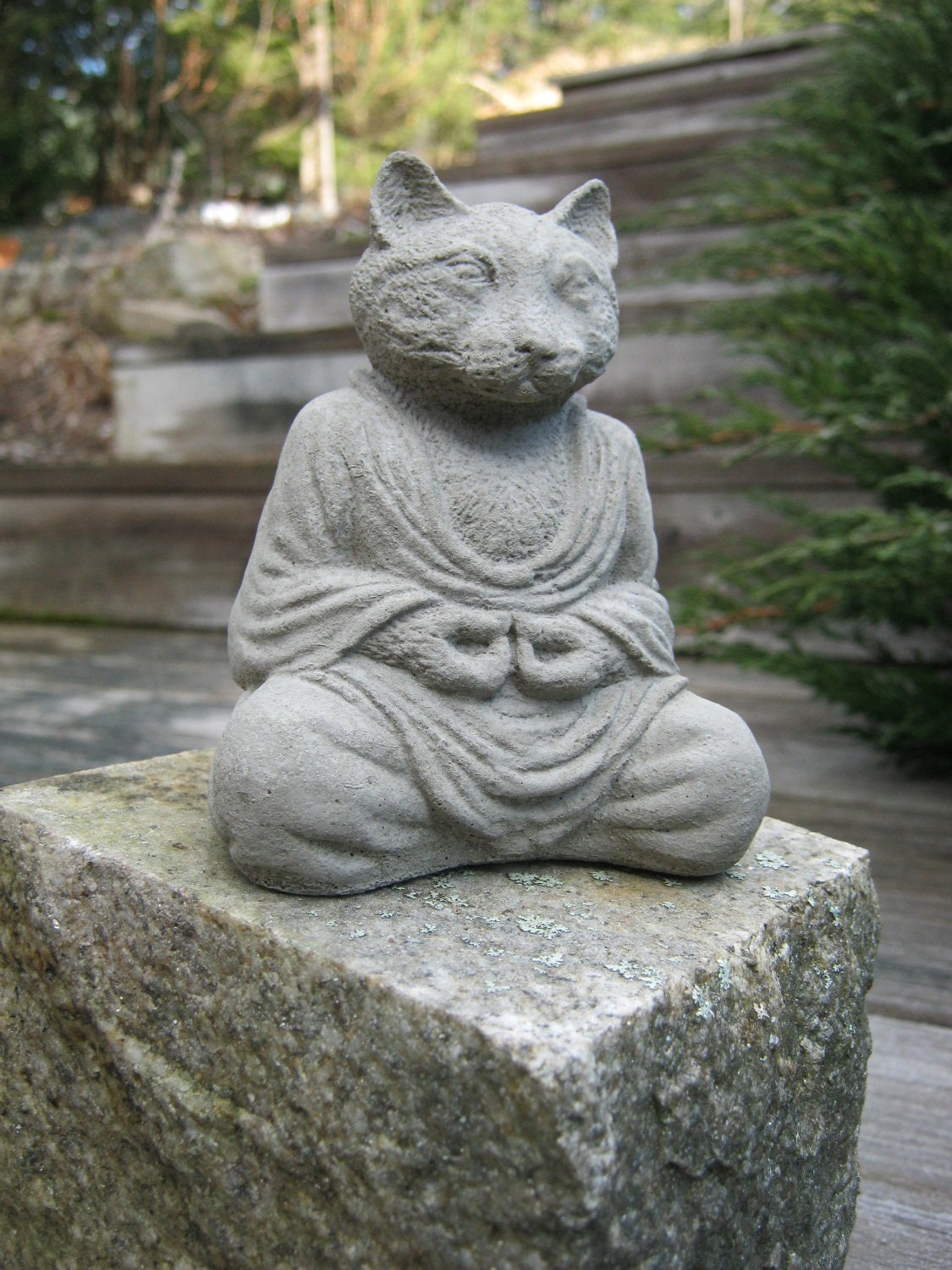 buddha cat meditating cat statue concrete cats zen home and. Black Bedroom Furniture Sets. Home Design Ideas