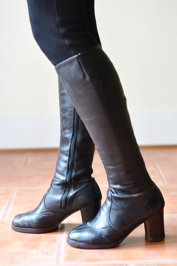 70's Black Knee High Leather Boots with Stacked Wooden Chunky Heel (Size: 6.5)