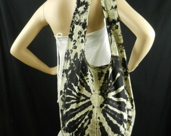 Black Tie Dye Bag Purse Sling Messenger Crossbody bag Buddha Hobo Hippie Celebrity Top Zip OAK VJ14