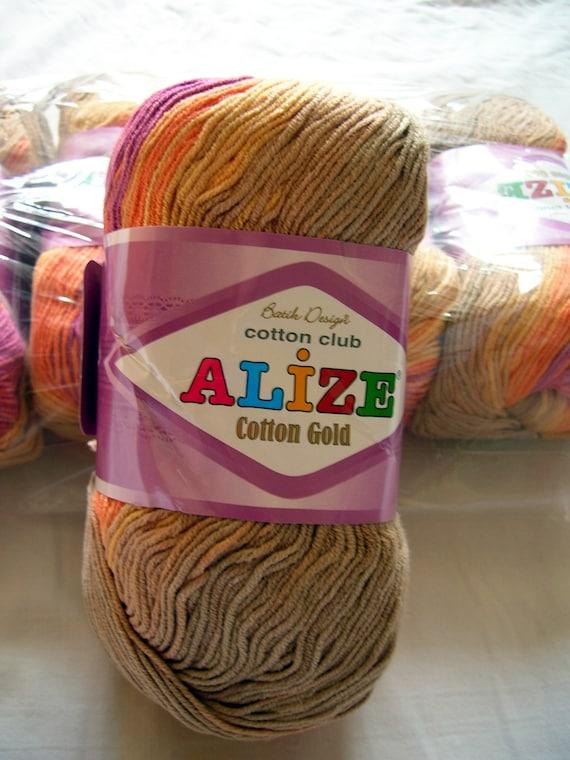 Alize Cotton Gold yarn: soft, hypoallergenic batik selfstriping yarn in earth colors. col. 3557