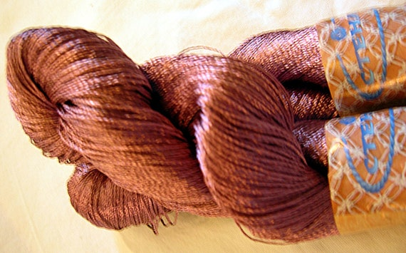 Viscose Silk Yarn: color dark old rose / rose aches, knitting and crochet lace yarn