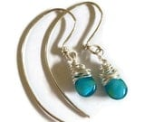Turquoise drop and silver earrings with custom silver hooks