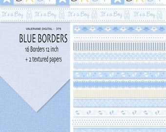 16 digital borders or ribbon clip art in blue, Baby Digital Border, clipart, Blue Ribbon, Blue digital border  INSTANT DOWNLOAD Pack  379