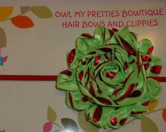 GRINCHY GREEN RED Shabby Frayed Flower Headband Christmas Holiday Babies Toddlers Girls