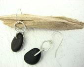 Beach Stone Jewelry Double Hoop Earrings River Rock Jewelry Natural Stone Earthy