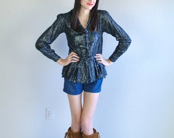 vtg 80s India BLACK METALLIC hippie BLOUSE xs hippie boho gypsy shirt top festival sheer
