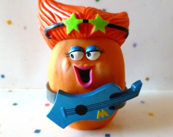 McNugget Buddies, ROCK STAR, ROCKER Girl, Chicken McNuggets, Guitar,  Female Rock Star, 1988,  Vintage McDonalds Happy Meal Toys, Food Toys