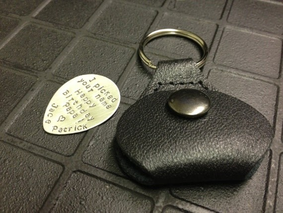 Hand Stamped Personalized Sterling Silver Guitar Pick with Leather Key Chain Holder - Perfect for Father's Day