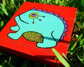 blue frog wooden art block