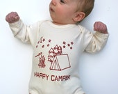 Happy Camper Organic Baby Bodysuit- Natural SHORT Sleeve Hand-printed original drawing- tent, moon, stars, s'mores 0 3 6 12 18 months