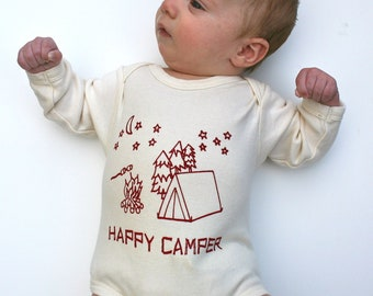 Happy Camper Organic Baby Bodysuit- Natural Long Sleeve Hand-printed with my original drawing- tent, moon, stars, s'mores 0 3 6 12 18 months