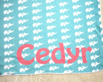 Personalized Organic Cotton Elephant Baby Swaddle Blanket- You Choose Colors and Font- Eco Friendly