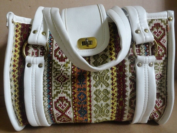 Vintage Tapestry Handbag/ Vintage Tapestry Carryon Bag| Spilene Tapestry/Double Handle/Designer Style bag