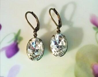 Crystal Rhinestone Earrings Vintage 50's Crystal Jewels  April Birthstone Winter Wedding Bridesmaid Jewelry Prom Dangle Drop Earrings