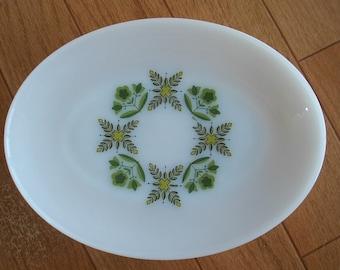 Anchor Hocking Vintage Cottage Chic White Milk Glass Serving Platter, Vintage Decorative Plate