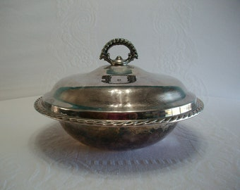 Vintage Silver Plated Serving Dish with Lid, Catch All Dish, Kitchen Decor