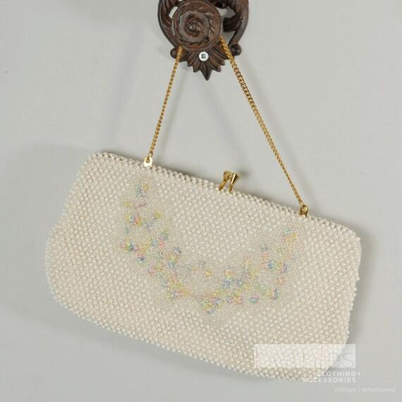 1950s Purse Cream Beaded Evening Purse Off-White Purse Cordé-Bead Purse Evening Bag by Lumured Vintage 50s Like New Purse Beaded Purse