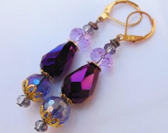 Deep purple crystal drops dangle earrings  E335