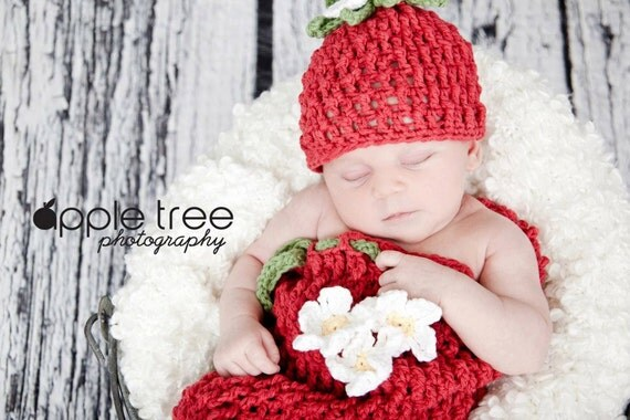 Set of 3 Crochet Patterns for Berrylicious Set:  Beanie Hat, Diaper Cover, and Cocoon  - Welcome to sell finished items