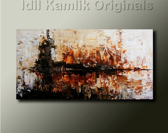 Modern Abstract Original PAINTING Contemporary Textured Fine ART Earth Tones by Idil Kamlik