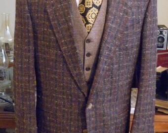 Mens Vintage Pierre Cardin Tweed Jacket/Pierre Cardin Tweed Blazer/Piere Cardin Tweed Sportcoat Size tag 40 tall Plus tie Included