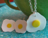Fried Egg Jewelry Set - Polymer Clay Fried Egg Necklace & Stud Earrings Set