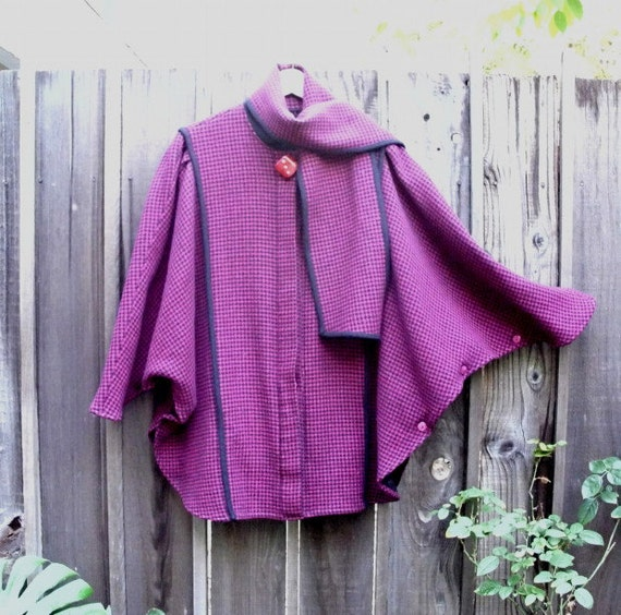 Radiant Orchid Vintage Wool Hounds-tooth Draped Cocoon Cape Coat Scarf Collar  Batwing Jacket