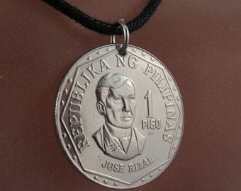 PHILIPPINES COIN jewelry NECKLACE pendant . 1 piso coins. jose rizal. emblem. eco friendly. recycle. vintage. No.001271