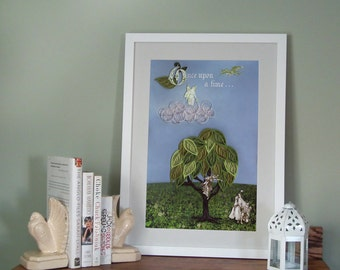 Once Upon a Time poster, fairy tale print, kids room decor, Paper art print, 12 x 18, Ready to ship