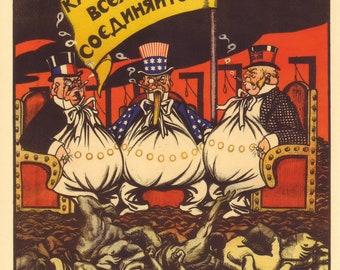 The Russian Revolutionary Poster. Capitalists of the world, unite. PROPAGANDA Soviet poster 1919s