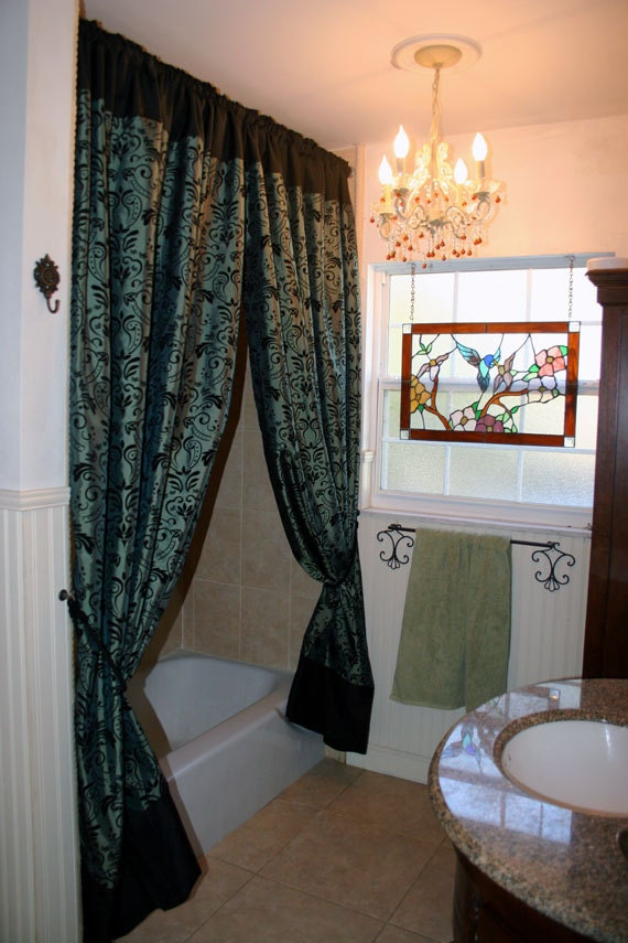 Items Similar To Sateen Shower Curtains Or Window Panels Greyish Teal And Black On Etsy