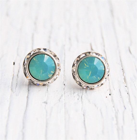 Blue Opal Bridal Jewelry Wedding Swarovski Crystal Pacific Opal Rhinestone Halo Stud Earrings Sugar Sparklers Clip on Studs Something Blue